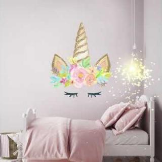 unicorn wall stickers, unicorns, decor, bedroom, girls