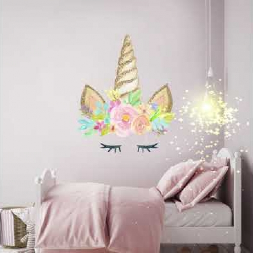 unicorn wall stickers, unicorns, decor, bedroom, girls