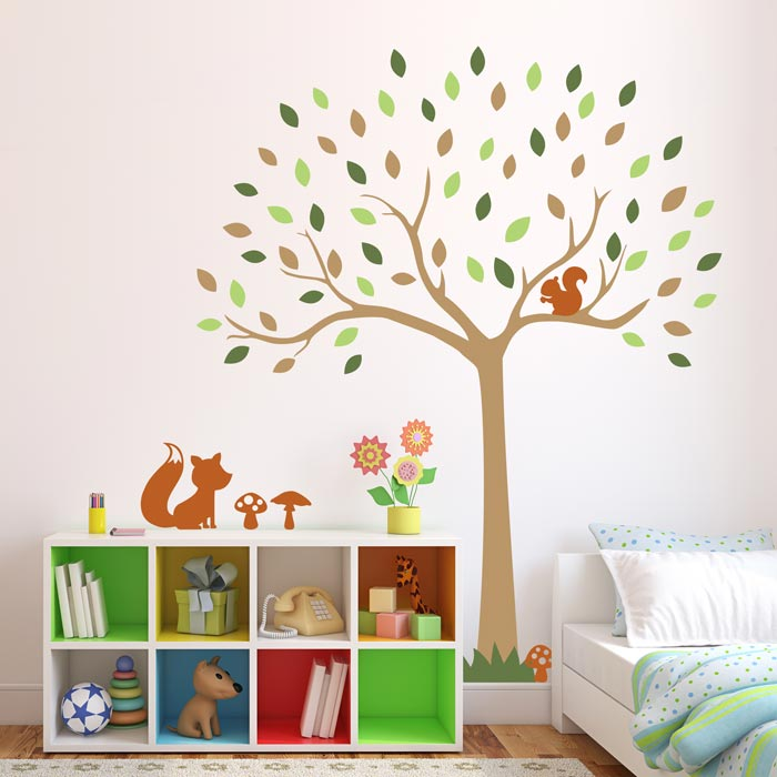 Woodland tree wall sticker with fox and squirrel | Woodland wall stickers | Stickerscape | UK