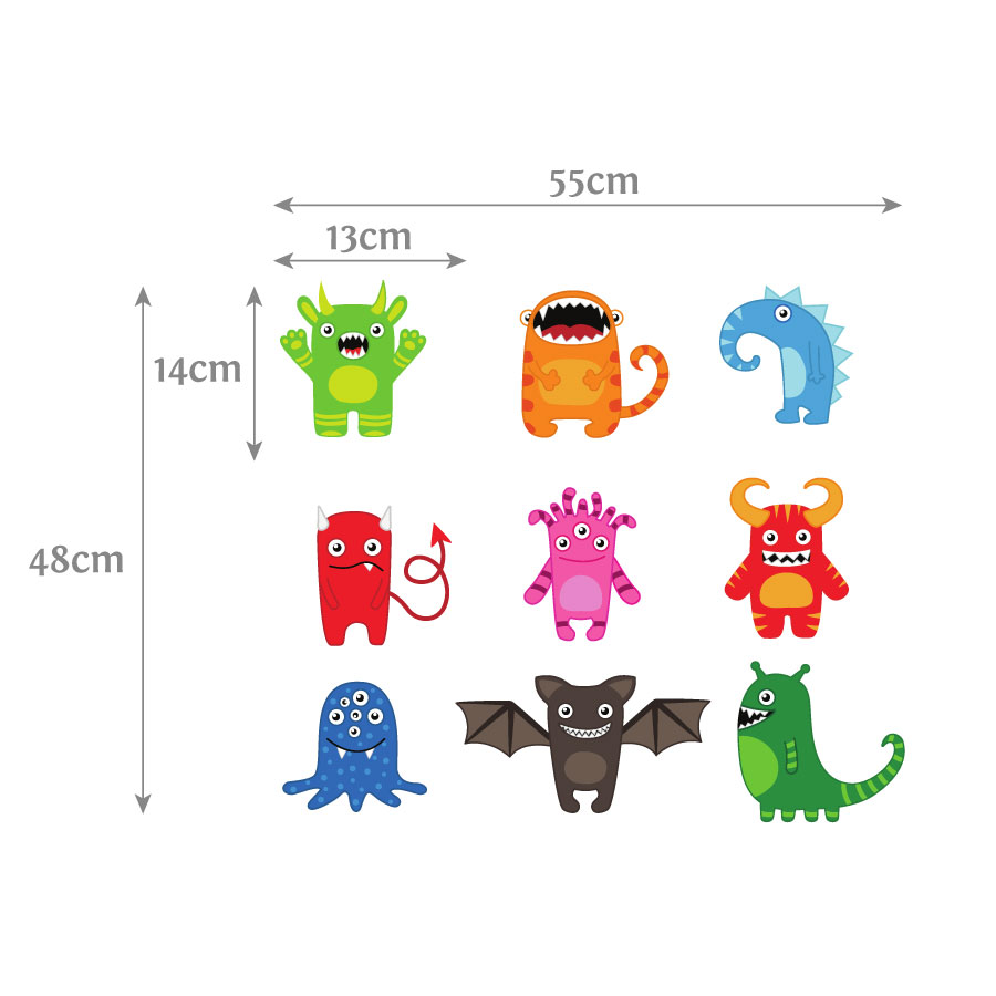 Monster wall stickers | Space wall stickers (Dimensions) | Stickerscape | UK