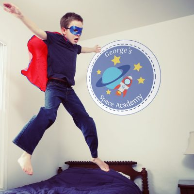 Personalised Space Academy wall sticker   Space wall stickers   Stickerscape   UK