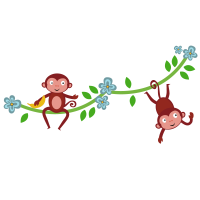 Jungle Monkeys Wall Sticker, jungle wall stickers. Image shows sticker assembled as two sets of vines, left with monky sat on top and right with a monkey hanging by their tail. There are also blue flowers and green leaves to decorate.