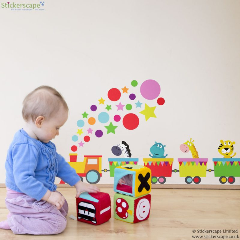 Jungle animal train wall sticker | Jungle wall stickers | Stickerscape UK