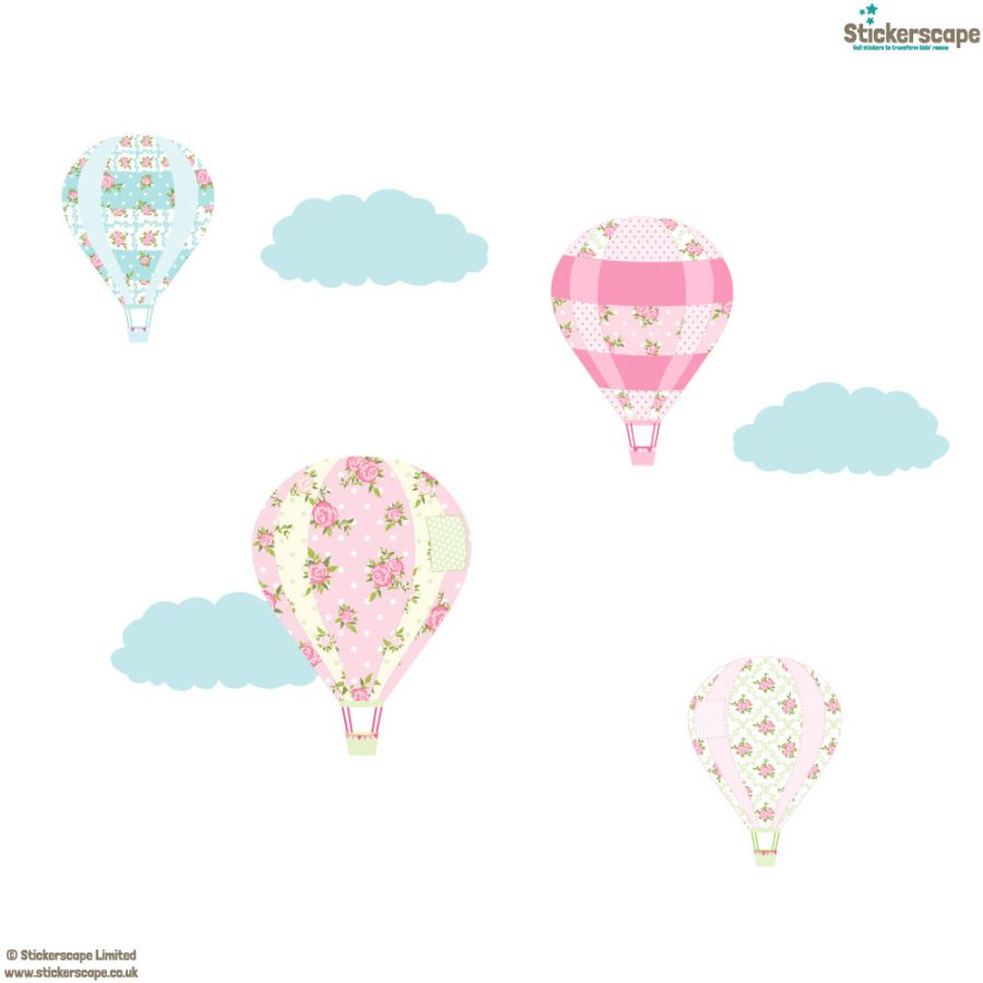 Vintage hot air balloon wall stickers | Transport wall stickers | Stickerscape | UK
