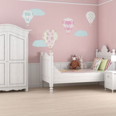 VIntage hot air balloon wall stickers perfect for decorating a girls bedroom or nursery
