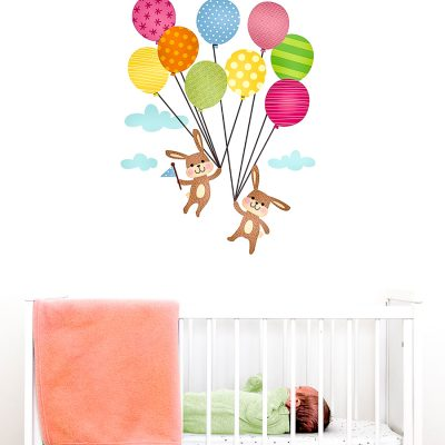 Bunnies with balloons wall sticker | Nursery wall stickers | Stickerscape | UK