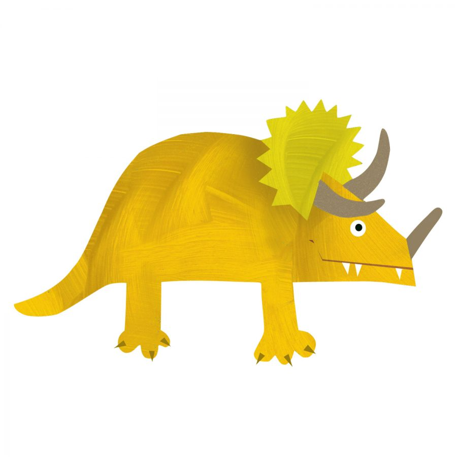 Triceratops wall sticker (Yellow) is a great little accessory to a child's room to add a dinosaur theme