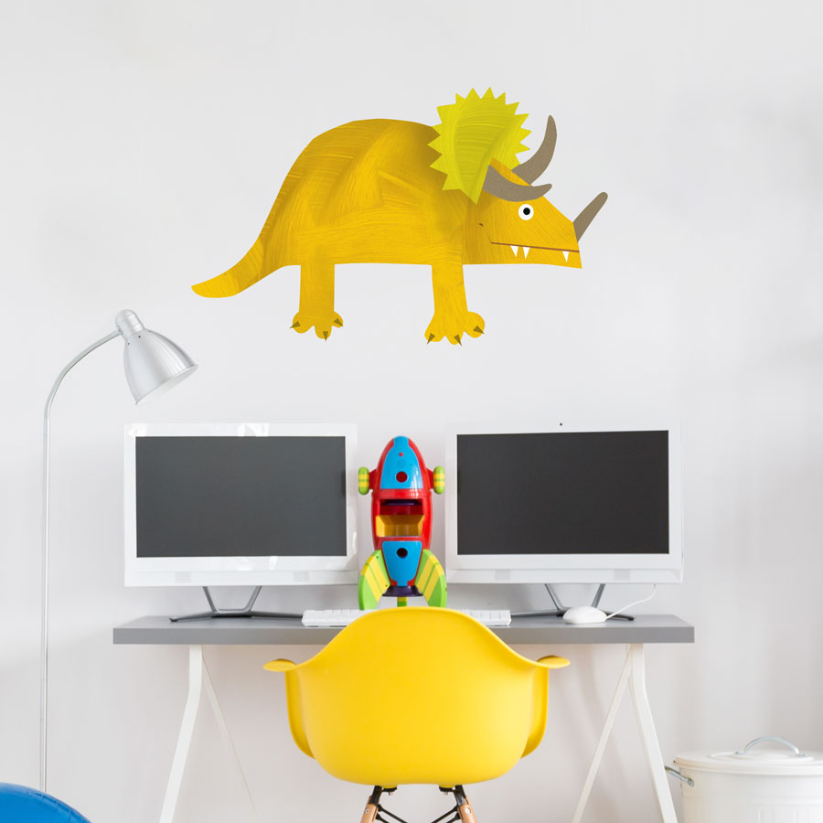 Triceratops wall sticker (Large - Yellow) is a great little accessory to a child's room to add a dinosaur theme