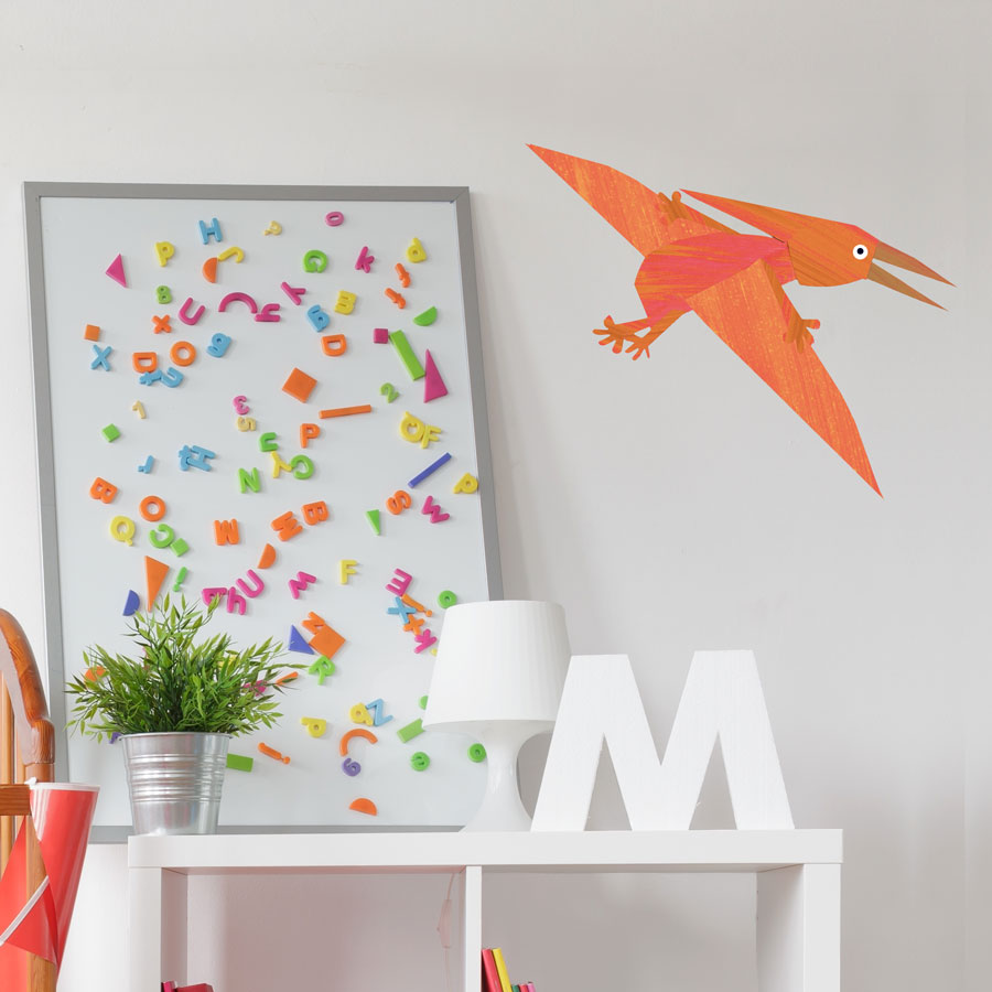 Pterodactyl wall sticker (Large - Orange) is a great little accessory to a child's room to add a dinosaur theme