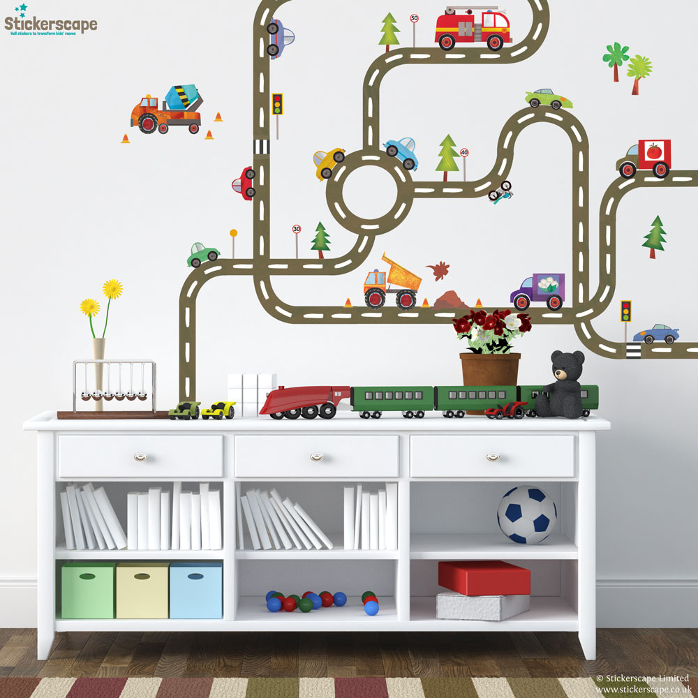 Diy road map wall sticker create a transport themed for Create your own wall mural photo