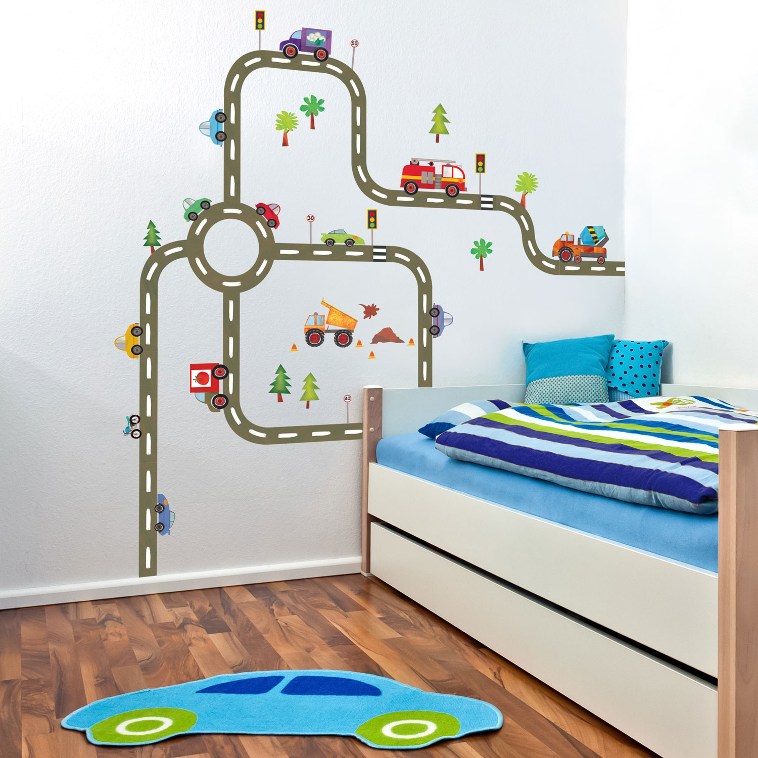 Create a transport themed bedroom with this DIY road map wall sticker pack