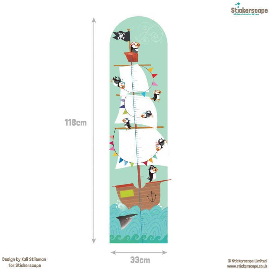 Pirate height chart wall sticker with dimensions