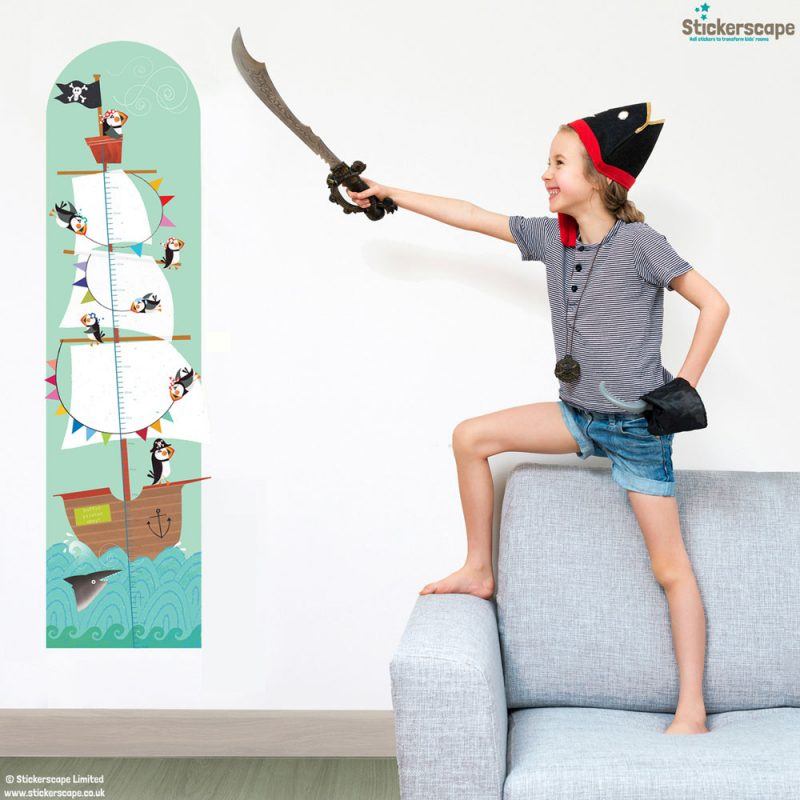 Pirate height chart wall sticker by Kali Stileman