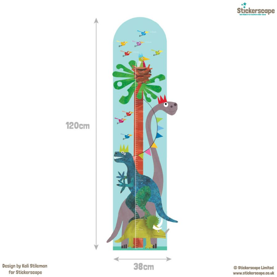 Dinosaur height chart wall sticker with dimensions