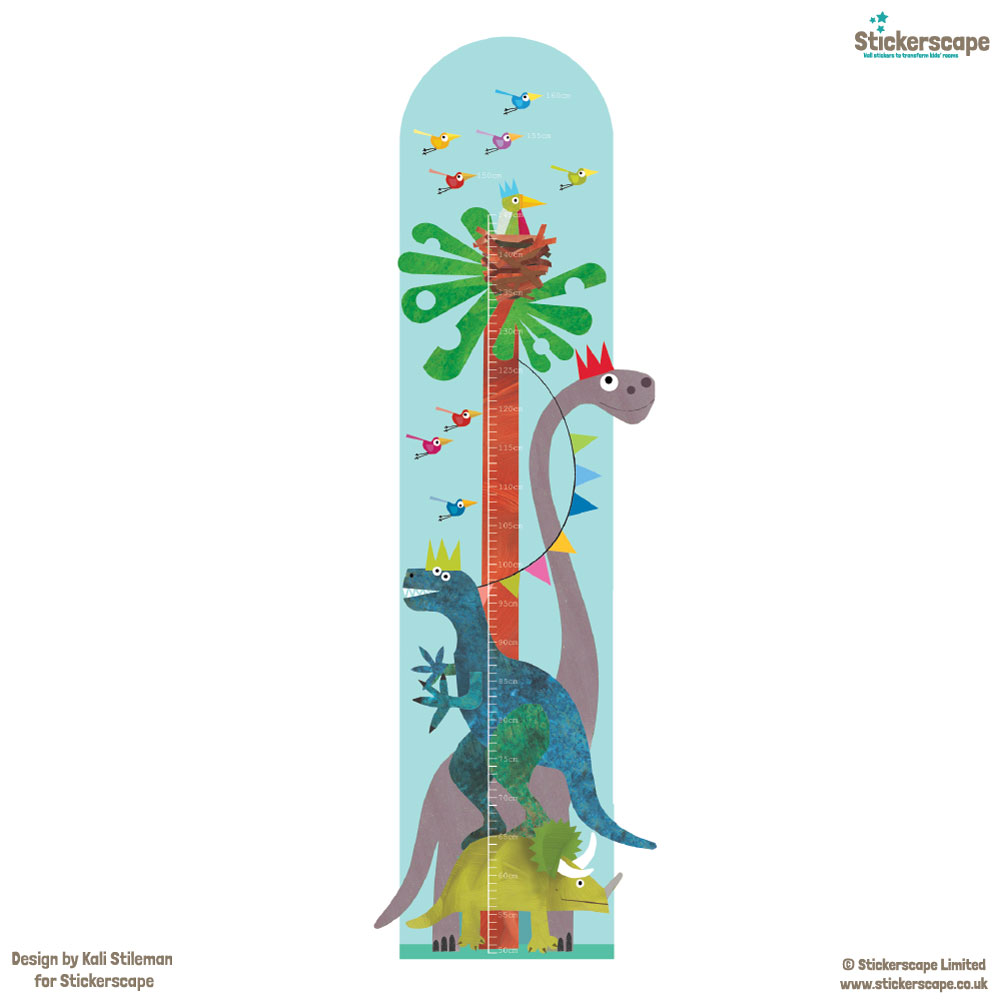 Dinosaur height chart wall sticker on white background