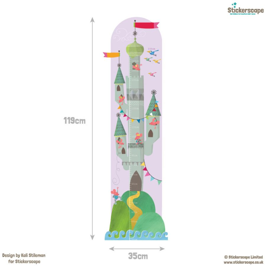 Mouse castle height chart wall sticker with dimensions