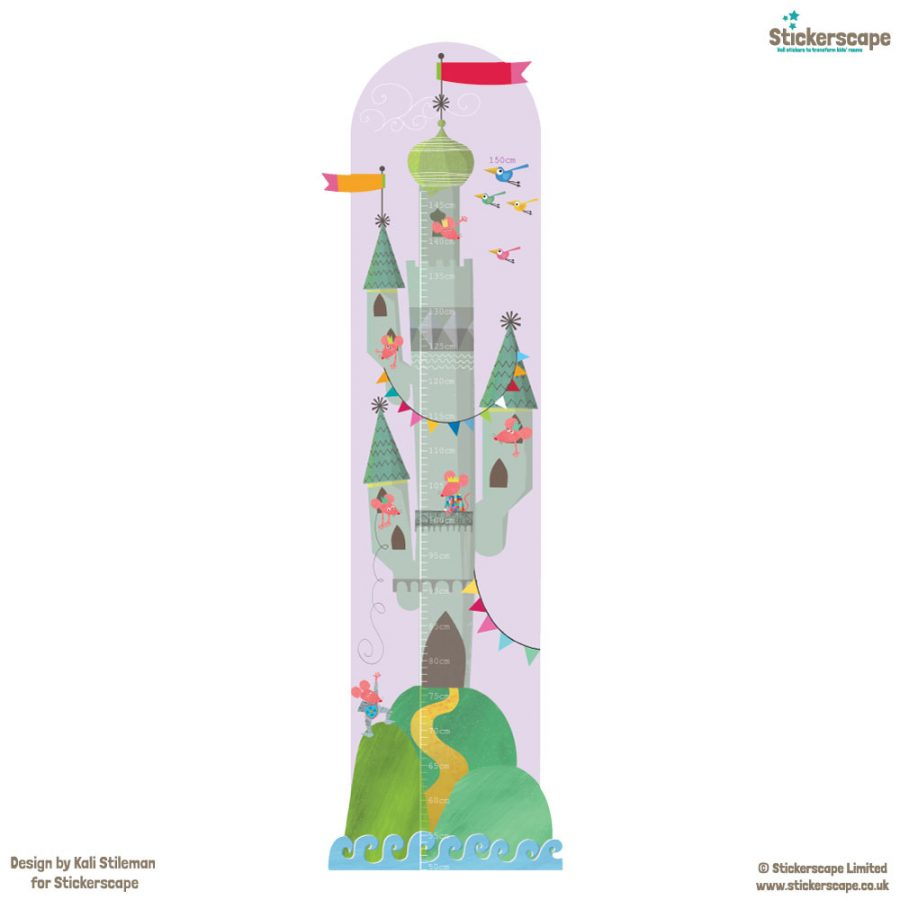 Mouse castle height chart wall sticker on white background