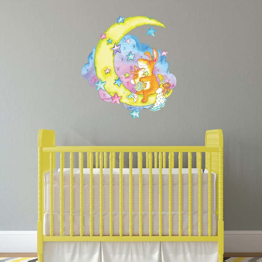 Moon rabbit wall sticker | Nursery wall stickers | Stickerscape | UK