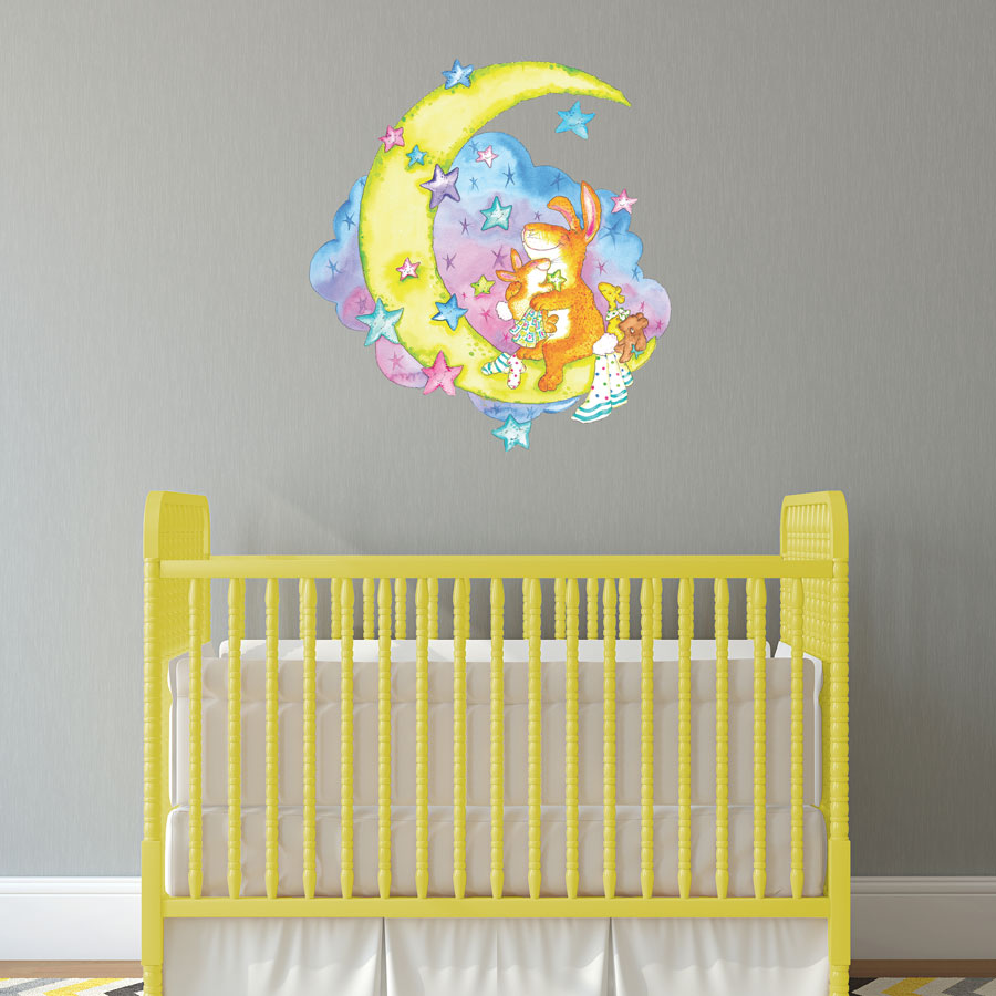 Moon rabbit wall sticker | Nursery wall stickers | Stickersacpe | UK