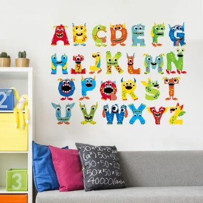 Monster alphabet wall sticker (Large size) perfect for a child's bedroom or playroom and a great fun way to learn the alphabet