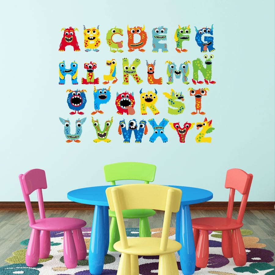 Monster alphabet wall sticker (Regular size) perfect for a child's bedroom or playroom and a great fun way to learn the alphabet