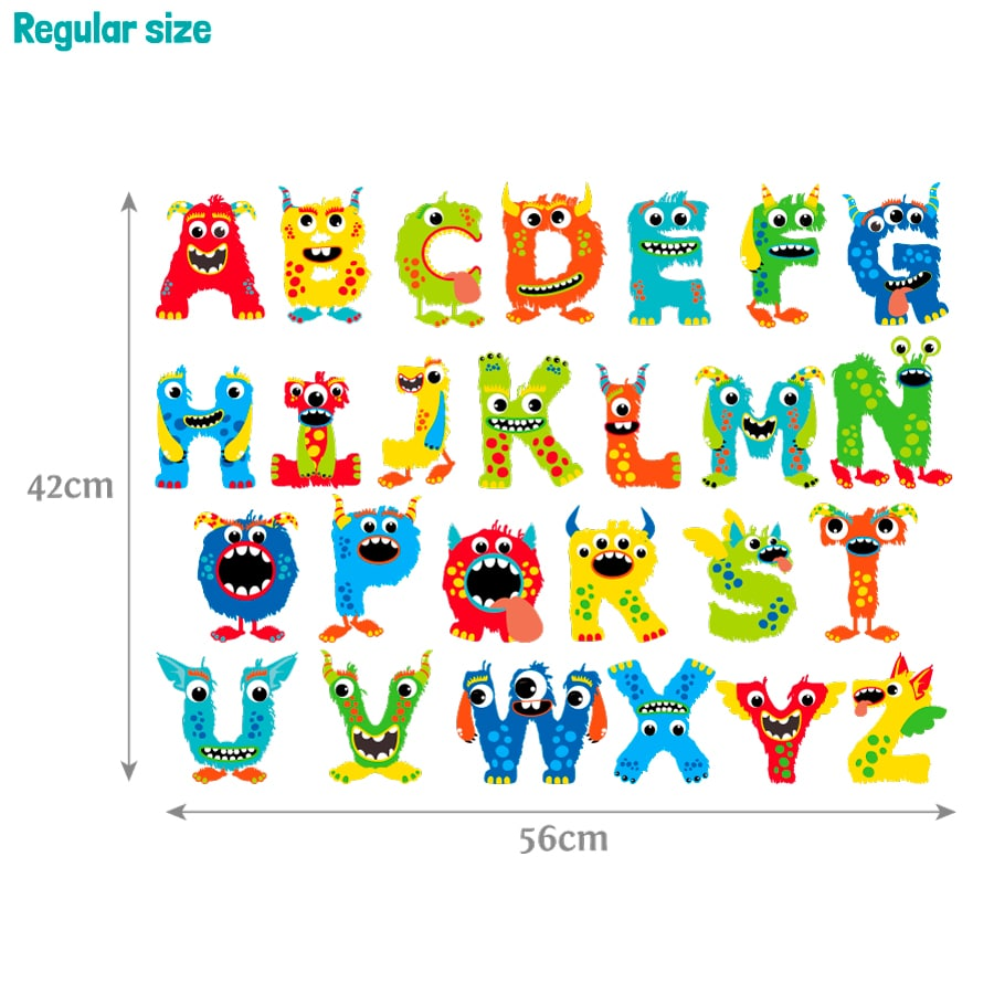 Monster alphabet wall sticker (Regular size) on a white background with dimensions