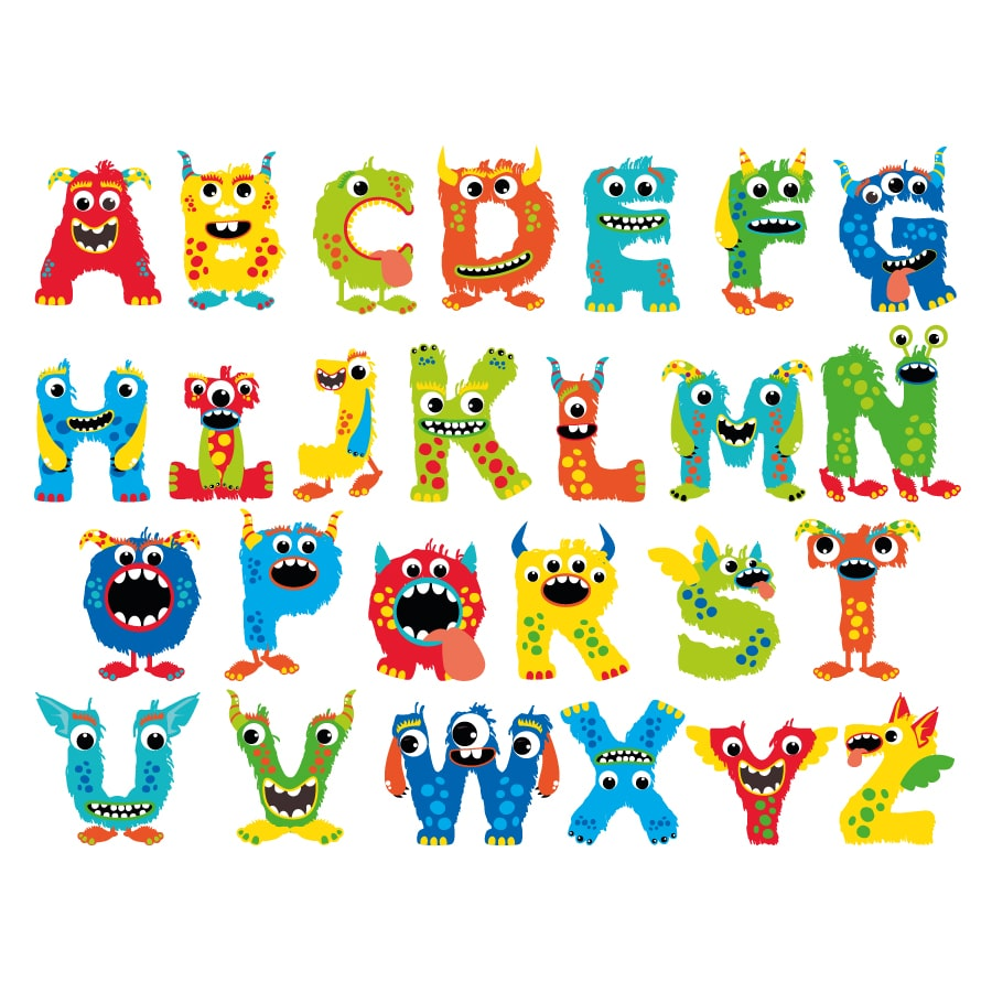 Monster alphabet wall sticker on a white background