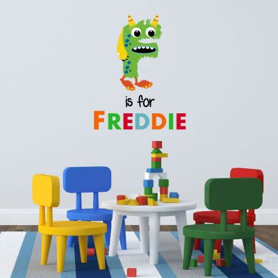 Personalised monster monogram wall sticker perfect for adding a personalised design to your little monster's bedroom or playroom!