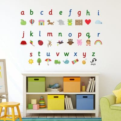 Illustrated alphabet wall sticker (Large) is a great addition to a playroom, bedroom or school and is a great way for your child to learn the alphabet