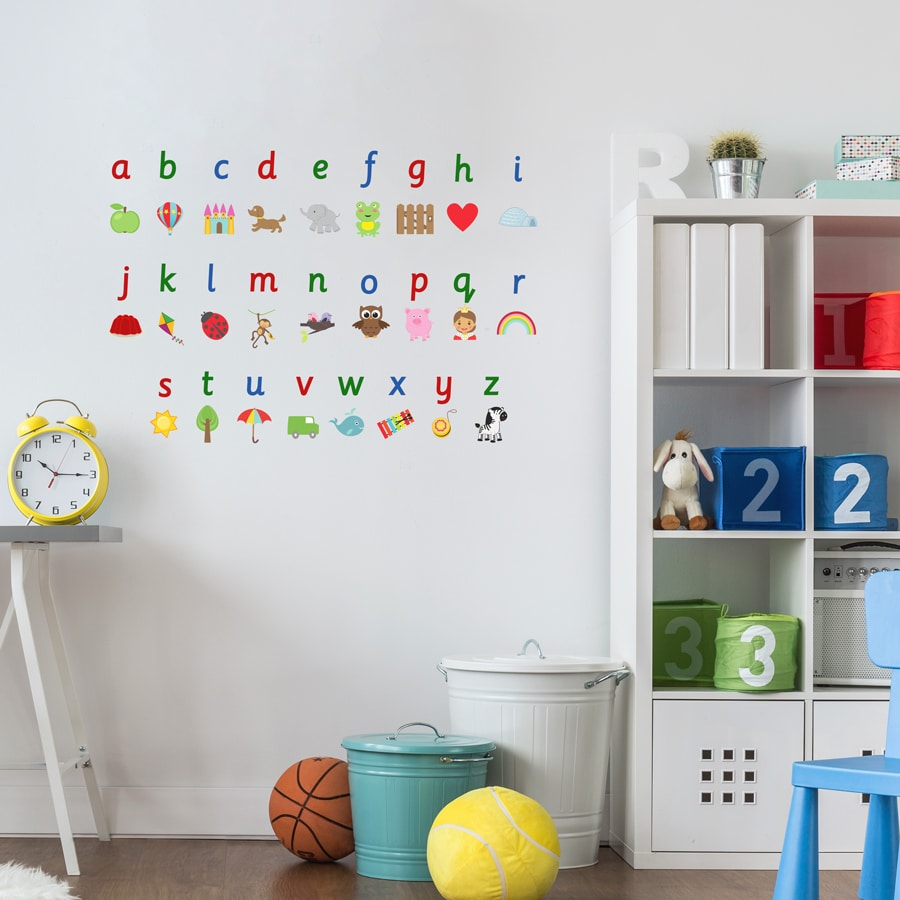 Illustrated alphabet wall sticker is a great addition to a playroom, bedroom or school and is a great way for your child to learn the alphabet