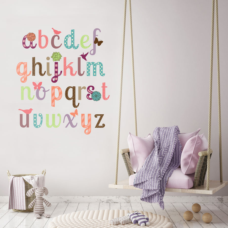Girly alphabet wall sticker (Large size) perfect for adding an alphabet design to your child's bedroom or playroom