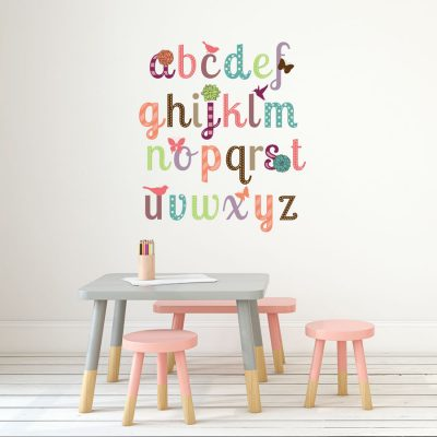 Girly alphabet wall sticker (Regular size) perfect for adding an alphabet design to your child's bedroom or playroom