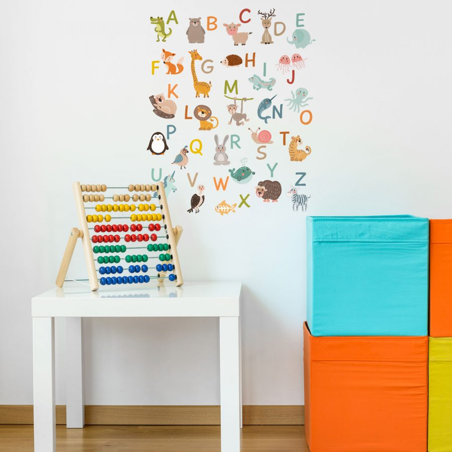 Animal alphabet wall sticker (Regular size) | Alphabet wall stickers | Stickerscape | UK