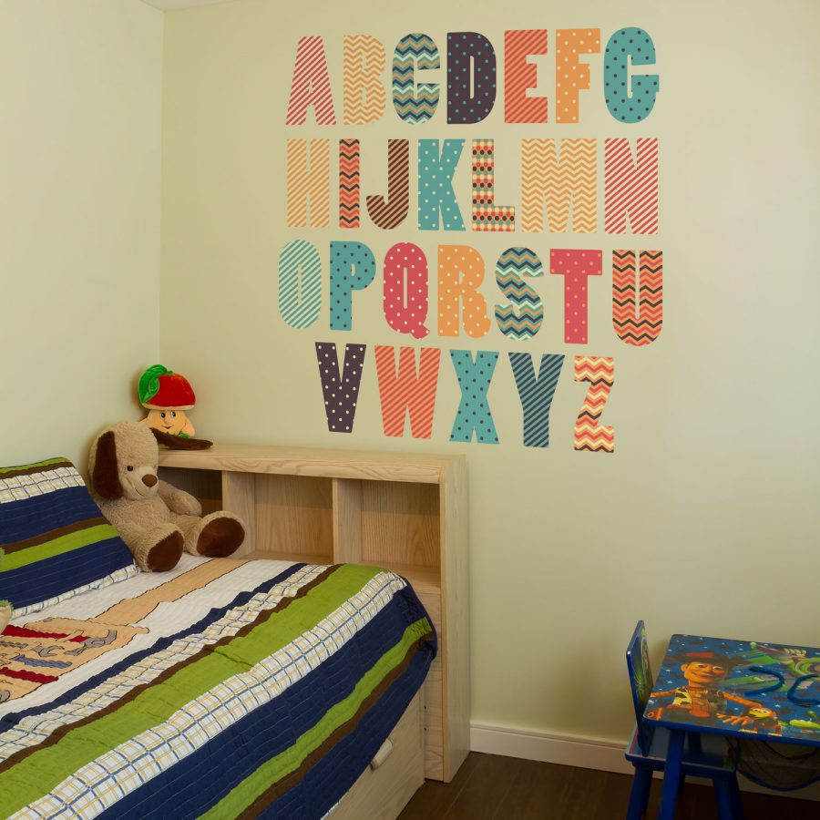 Retro alphabet wall sticker (Large size) | Alphabet wall stickers | Stickerscape | UK
