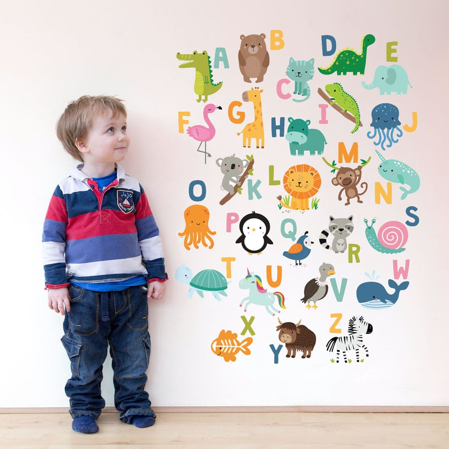 Bright animal alphabet wall sticker (Large size) perfect for adding an alphabet wall sticker into your child's bedroom or playroom