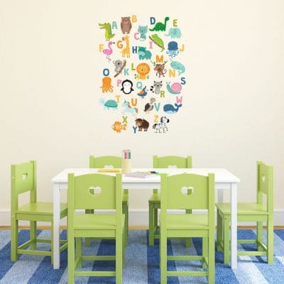 Jungle Alphabet Wall Sticker, jungle wall stickers. Image shows a colourful alphabet sticker arranged in a rectangular format with lots of animals. The sticker has been placed on a plain wall above a table with green chairs.