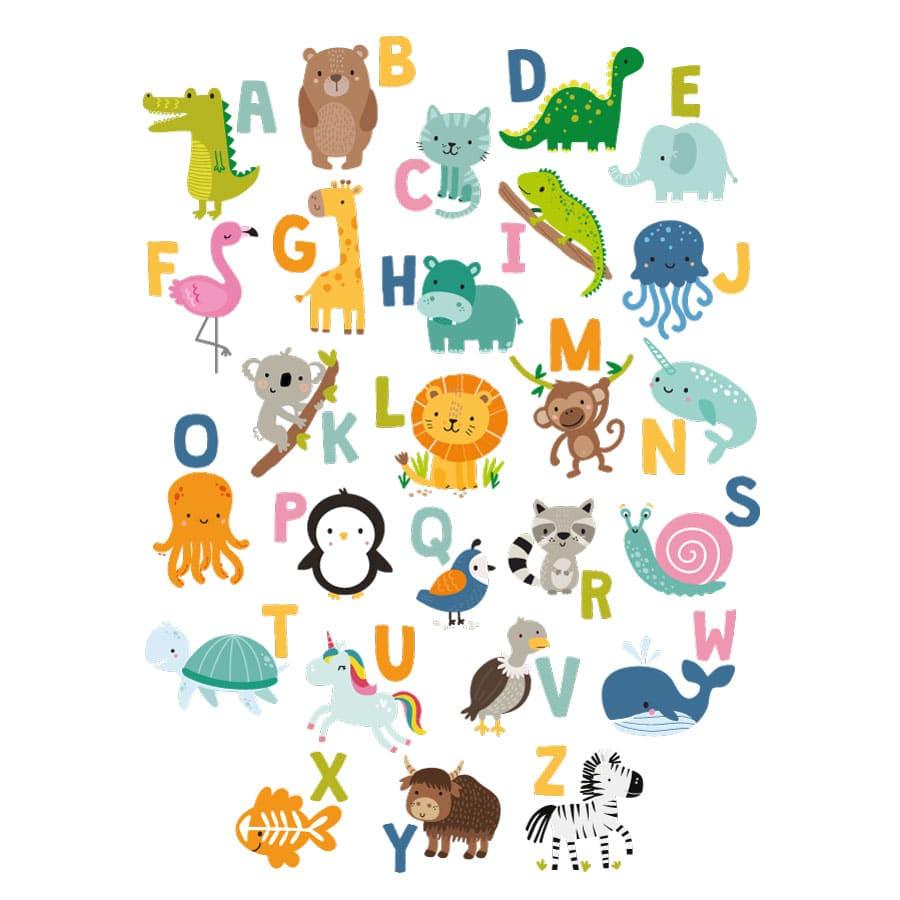 Bright animal alphabet wall sticker (Regular size) on a white background