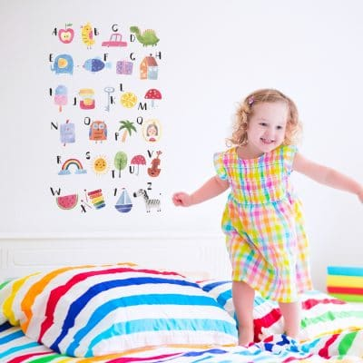 Watercolour alphabet wall sticker perfect addition to a child's bedroom or playroom and a great way for them to learn the alphabet
