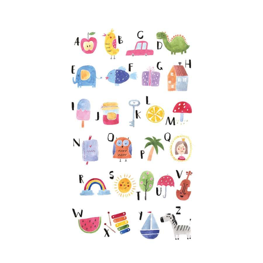 Watercolour alphabet wall sticker on a white background