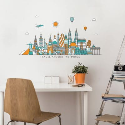 Travel the world wall sticker (Option 1) in regular size perfect for decorating a bedroom, study or playroom with a travel theme