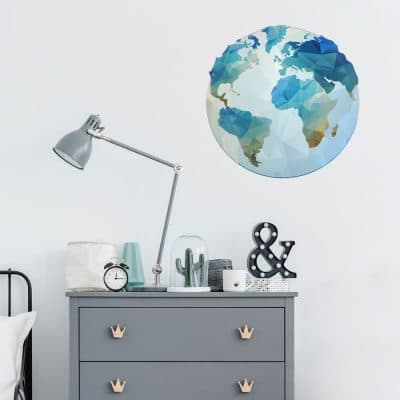 Globe wall sticker (Option 1) in large size perfect for decorating a bedroom or playroom with a travel theme