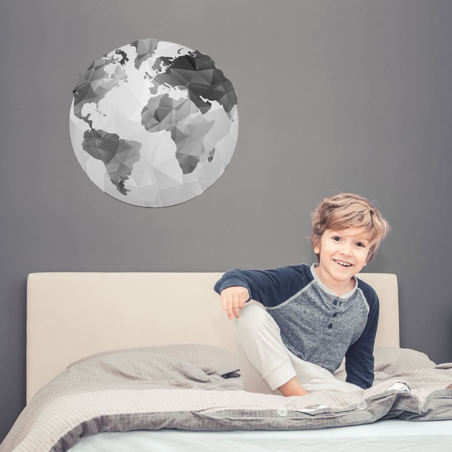 Globe wall sticker (Option 2) in large size perfect for decorating a bedroom or playroom with a travel theme
