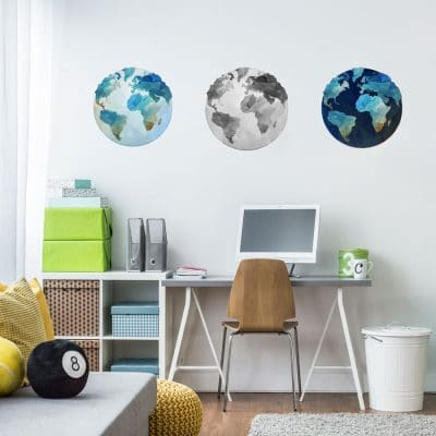 Set of globe wall stickers (3 pack) perfect for decorating a bedroom, study or playroom with a world travel theme