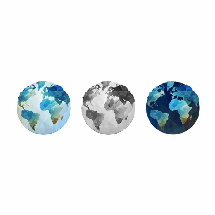 Set of globe wall stickers (3 pack) on a white background