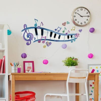 Watercolour piano and notes wall sticker (Regular size) perfect for decorating a child's room or study with a music theme