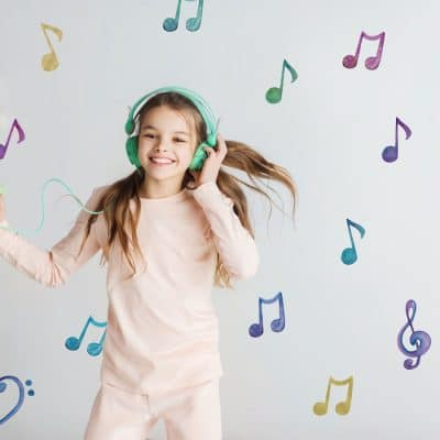 Watercolour musical notes wall sticker pack perfect for decorating a child's room or study with a music theme
