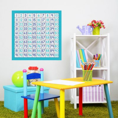 100 square wall sticker (Option 1) a great and fun way to learn to count and perfect for a childs bedroom, playroom or even a classroom