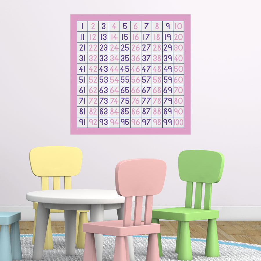 100 square wall sticker (Option 2) a great and fun way to learn to count and perfect for a childs bedroom, playroom or even a classroom