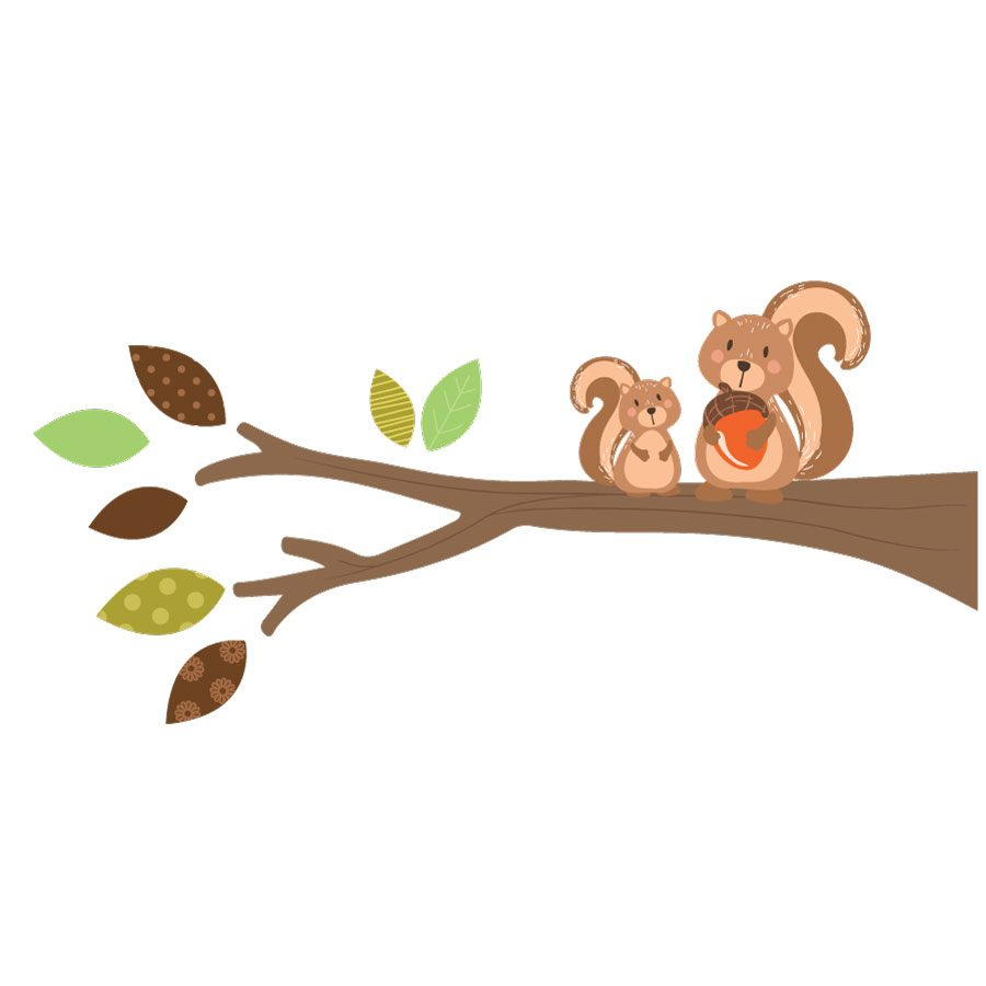 Woodland branch (left facing) wall sticker | Woodland Friends wall stickers | Stickerscape | UK