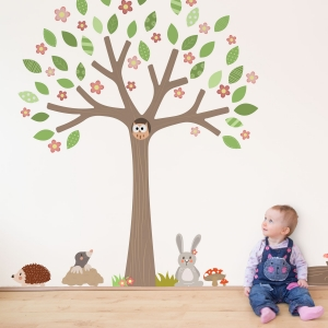 Spring edition Woodland Friends tree wall sticker